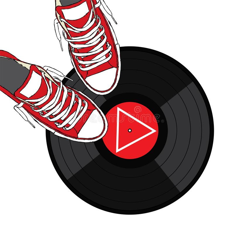 Stylish sneakers and a vinyl record. Vector illustration. Fashion & Style royalty free illustration