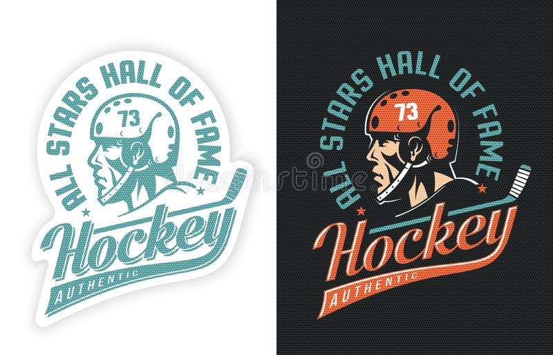 Stylish sports retro logo with hockey player. Stick and inscription. Two options - sticker on white and colored emblem on black background. Dot texture is vector illustration
