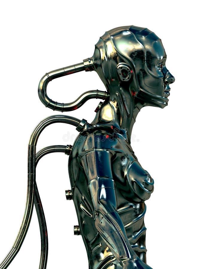 Stylish steel cyborg stock illustration