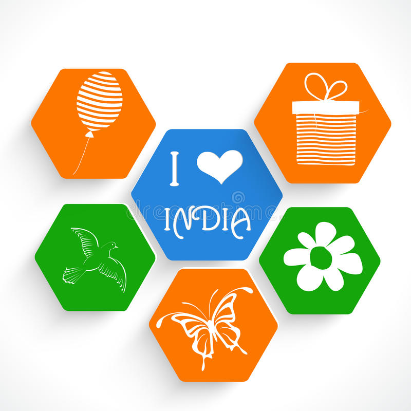 Stylish sticky for Indian Republic Day celebrations concept. Stylish sticker, tag or label design in national tricolor for Indian Republic Day and Independence vector illustration