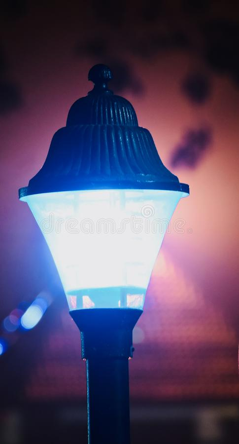 A stylish street lamps at night unique photo stock image