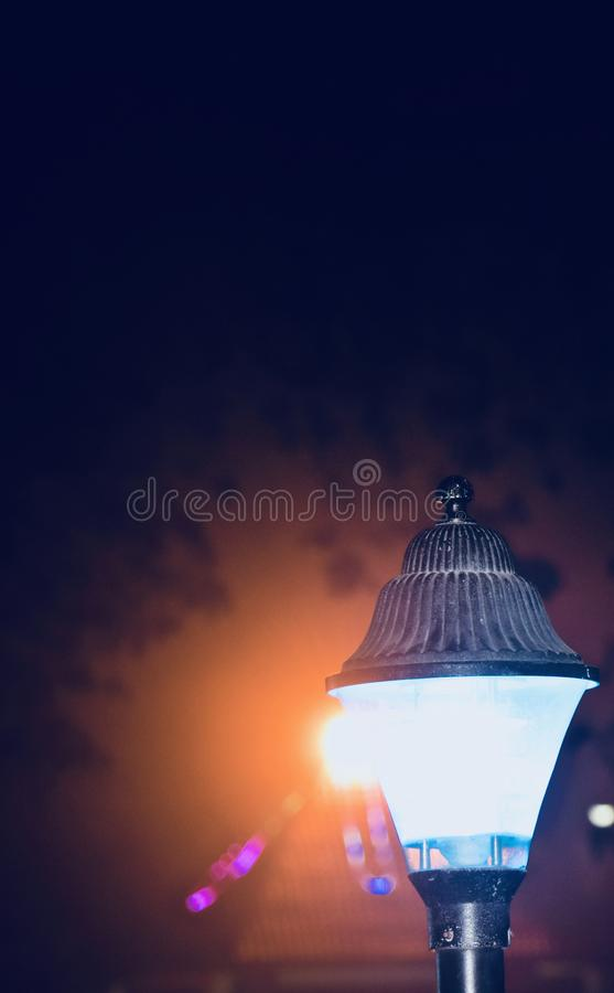 A stylish street lamps at night unique photo royalty free stock photography