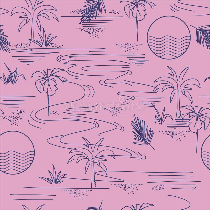 Stylish Summer blue line modern minimal island tropical mood seamless pattern on vector design for fashion,fabric,web,wallpaper, vector illustration
