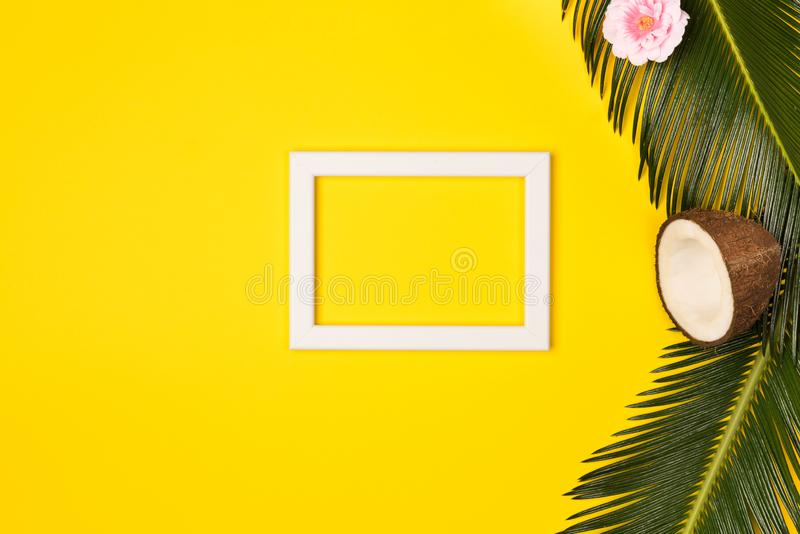 Stylish summer composition with photo frame, green leaves, flower and coconut on a yellow background royalty free stock photos