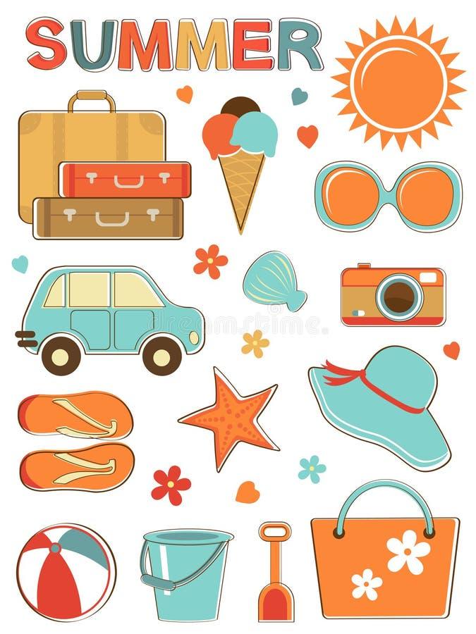 Stylish Summer Icons Set Stock Photos