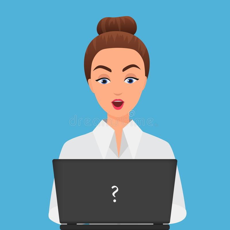Stylish surprised office young woman with laptop. Girl looking at laptop. royalty free illustration