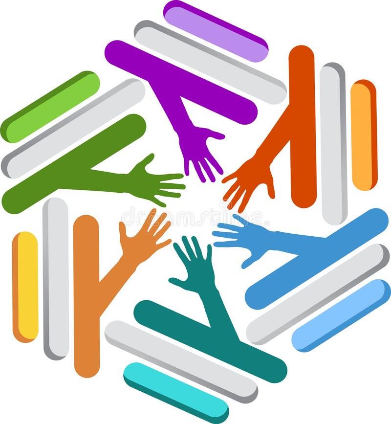 Stylish teamwork logo royalty free illustration