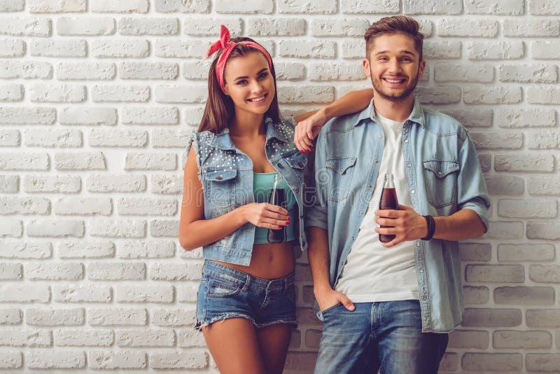 Stylish teenage couple stock photos