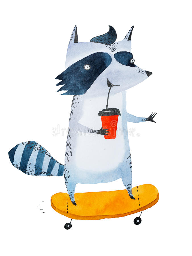 Stylish teenage raccoon drinking coffee to go from takeaway cup while riding on a skateboard. Watercolor sketch of stock illustration
