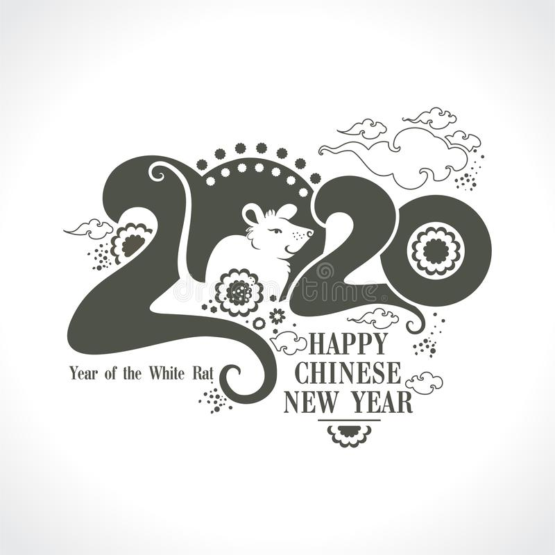 Stylish template 2020 with a cute cartoon white rat. Chinese New Year of the Rat. stock illustration
