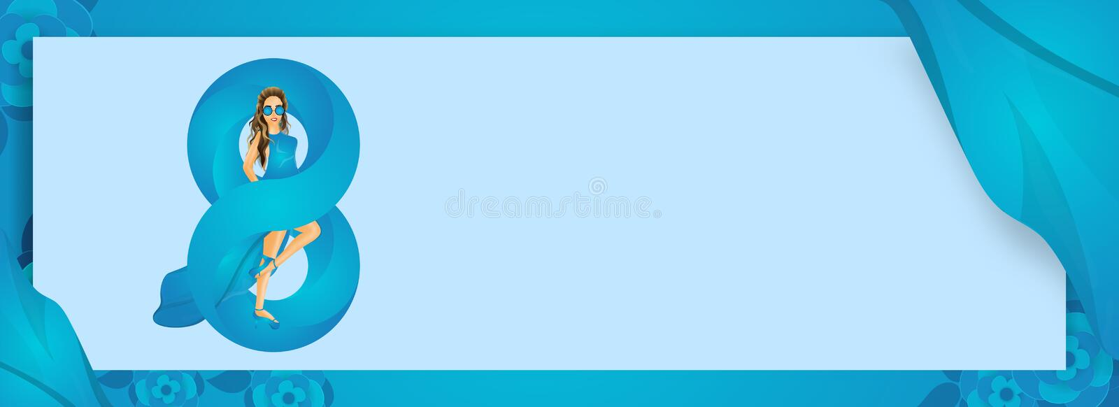 Stylish text 8 march with beautiful girl character on blue glossy background. royalty free illustration