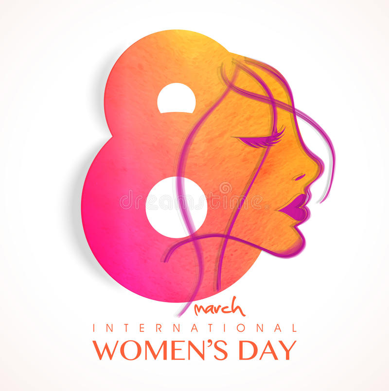 Stylish text 8 March with girl face for Women's Day. royalty free illustration
