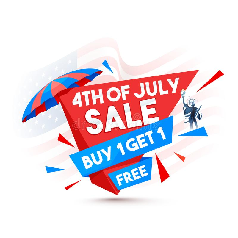 Stylish text 4th of July, Statue of Liberty, and Buy One and Get vector illustration