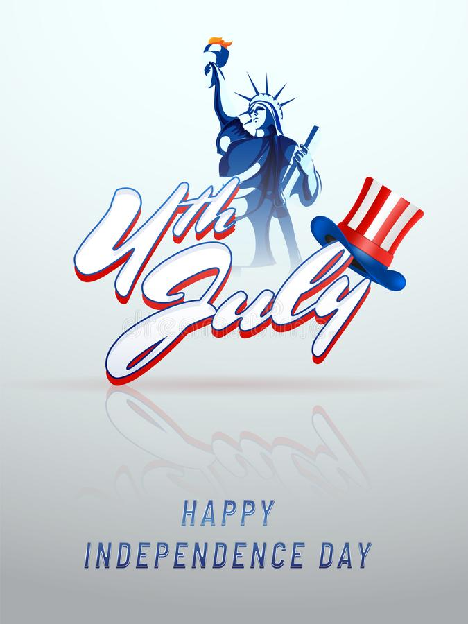 Stylish text 4th of July, with statue of liberty. stock illustration