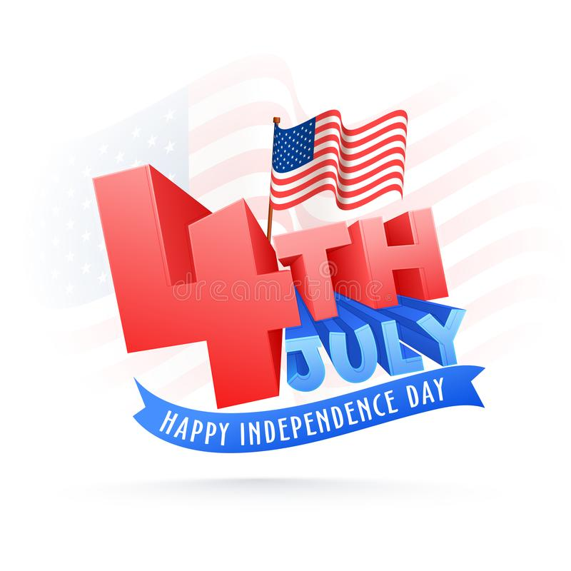 Stylish text 4th of July on waving flag background, Happy Independence Day celebration concept. vector illustration