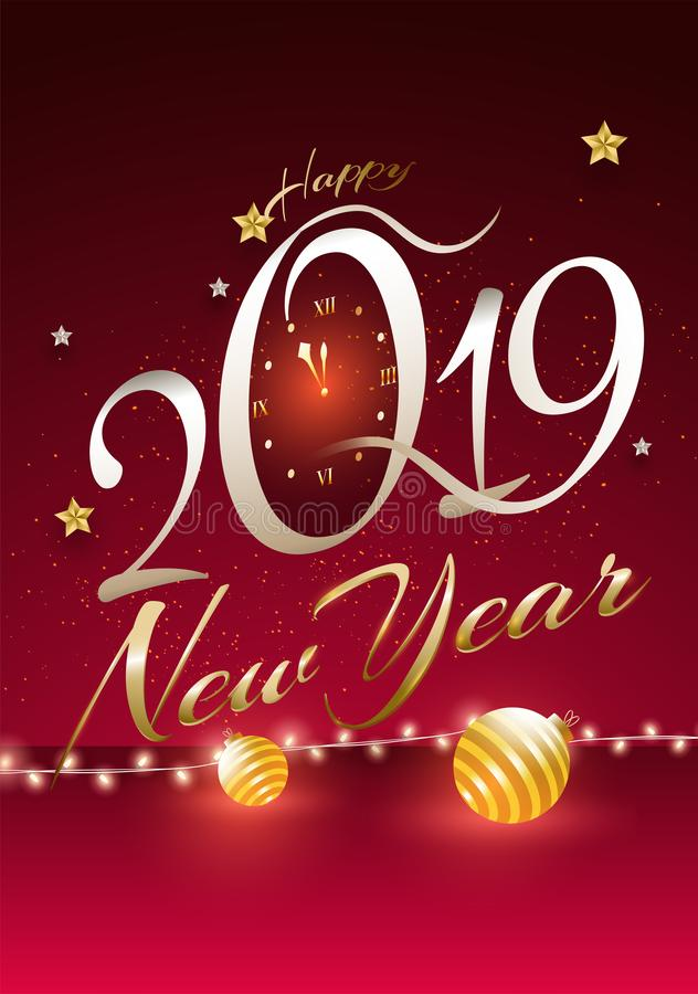 Stylish text 2019 with wall clock on glossy red background. Happy New Year greeting card design. stock illustration
