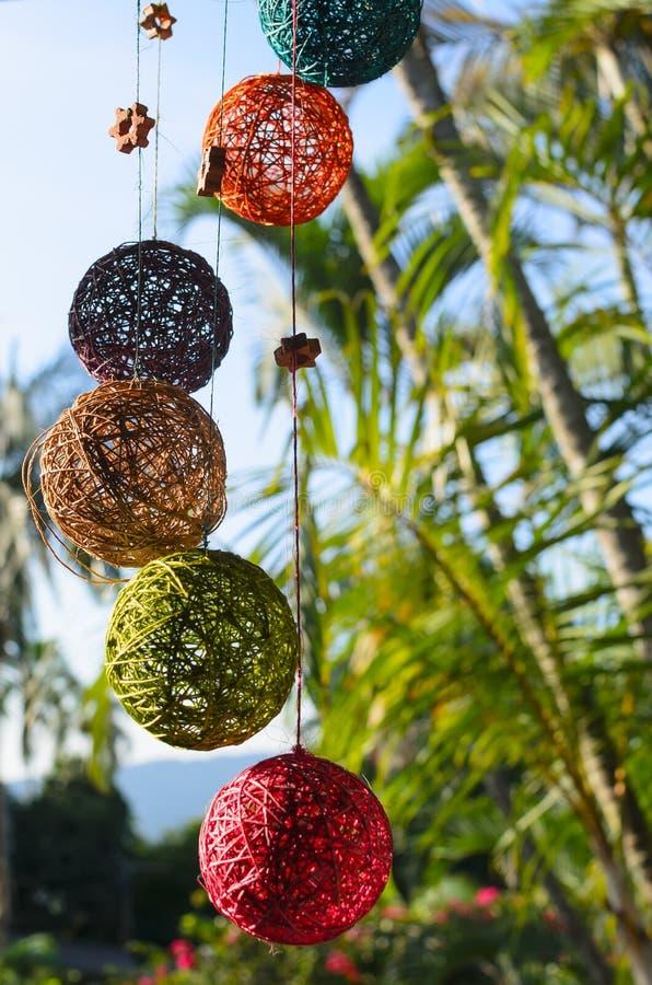 Stylish thread colorful handmade balls royalty free stock image