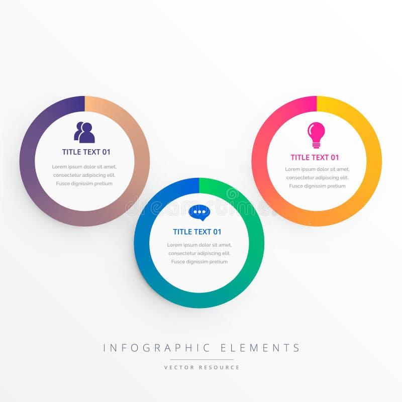 Stylish three colorful circles infograph. Vector royalty free illustration