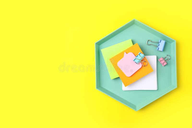 Stylish tray with office stationery. Space for text stock photos