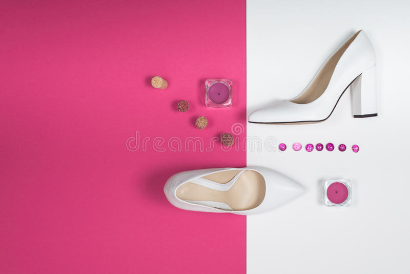 Stylish Trendy white heels . Summer fashion Outfit, Luxury Party shoes. Hipster Essentials. Minimal fashion concept. Shoes fashion. Stylish Trendy white heels royalty free stock photo