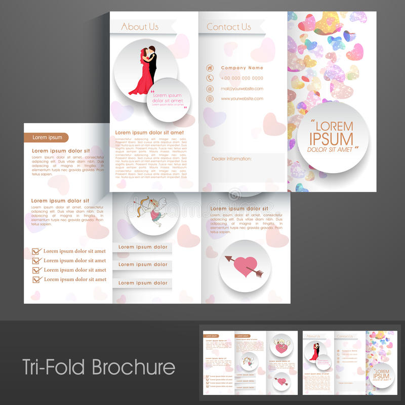 Stylish trifold brochure, catalog and flyer template. Beautiful trifold brochure, catalog and flyer template presentation for business stock illustration