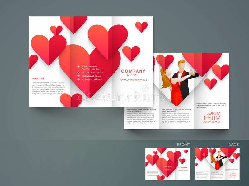 Stylish trifold brochure, catalog and flyer template for love pu. Rpose with red heart royalty free illustration