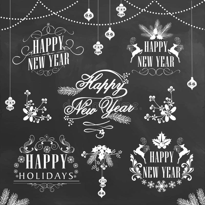 Stylish typographic collection for New Year. royalty free illustration