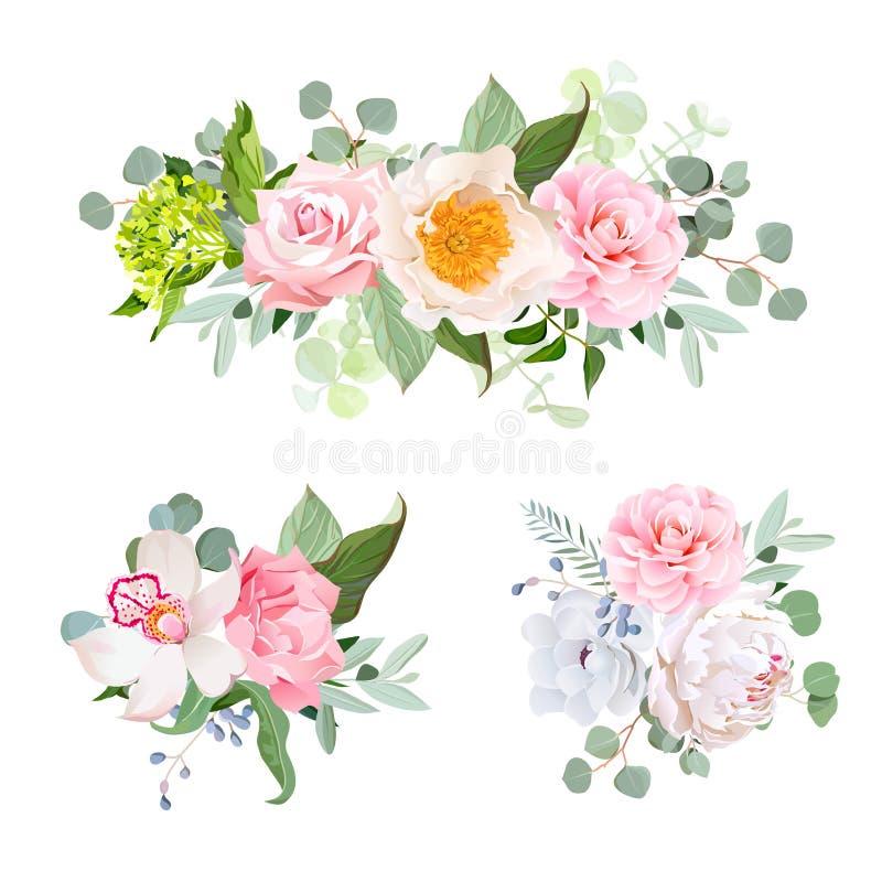 Stylish various flowers bouquets vector design set. Green stock illustration