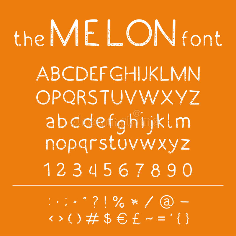 Stylish vector abc. Retro cute hand drawing font - Melon. Unique alphabet with letters in numbers and symbols stock illustration