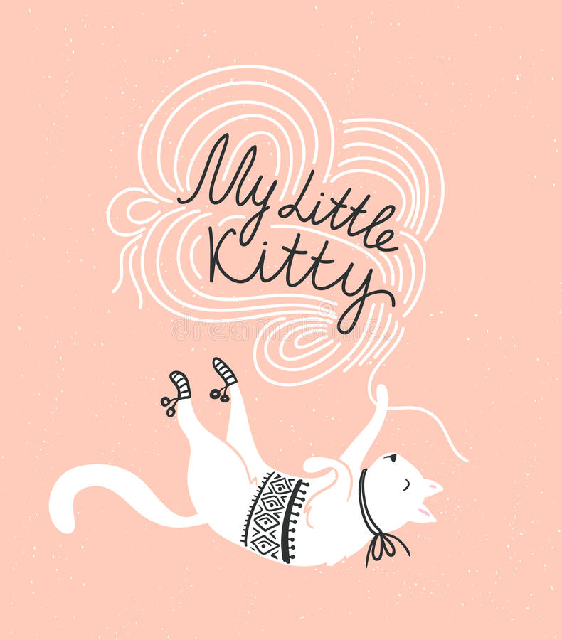 Stylish vector card with cute white cat and stylish lettering 'my little kitty'. Stylish vector card with cute white cat and stylish lettering 'my little kitty royalty free illustration