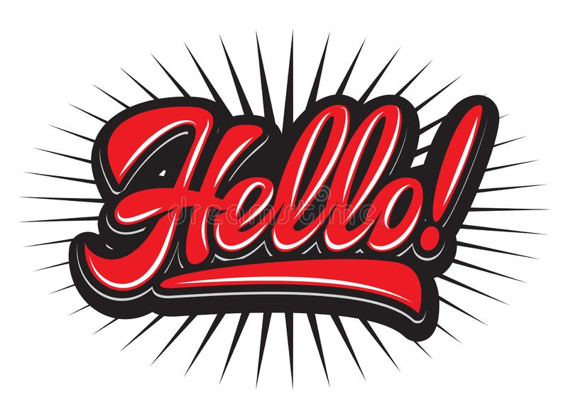 Stylish vector illustration with Hello lettering calligraphy.  royalty free illustration