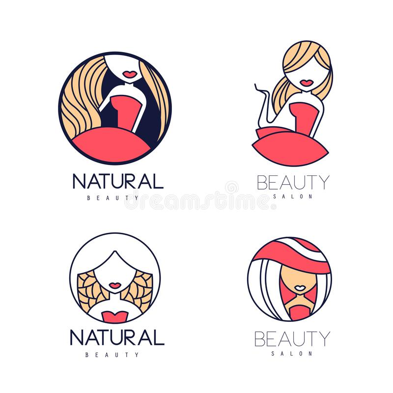 Stylish vector logos for beauty salon or natural cosmetics. Emblems with gentle women silhouettes. Linear labels with. Stylish logo templates for beauty salon or royalty free illustration