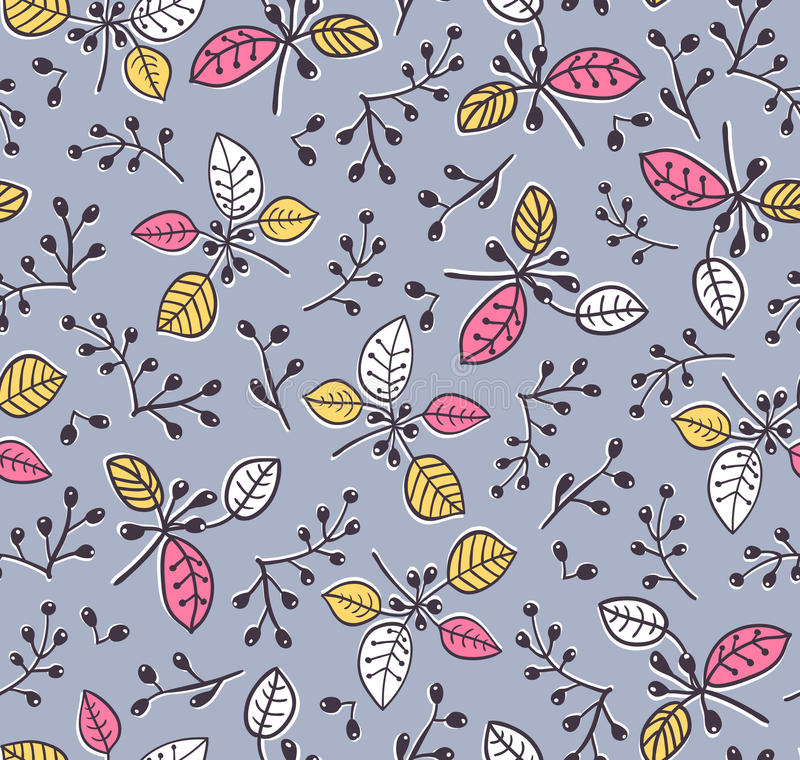 Stylish vector seamless floral spring pattern with branches and leaves. Decorative background. vector illustration