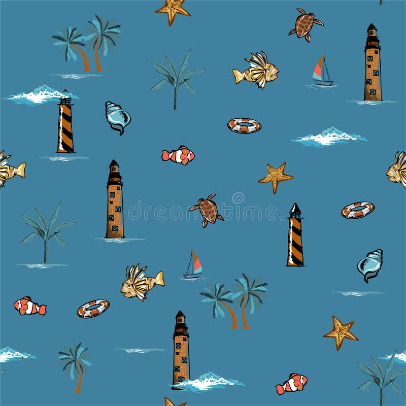 Stylish Vector is seamless and repeatable. Tropical summer elements print Wallpaper with nature beach island mood on summer blue stock illustration
