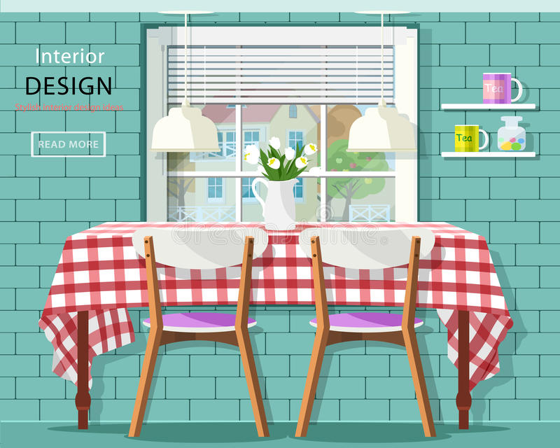 Stylish vintage dining room interior: dinner table with checkered tablecloth, window with jalousie and brick wall with shelves. stock illustration