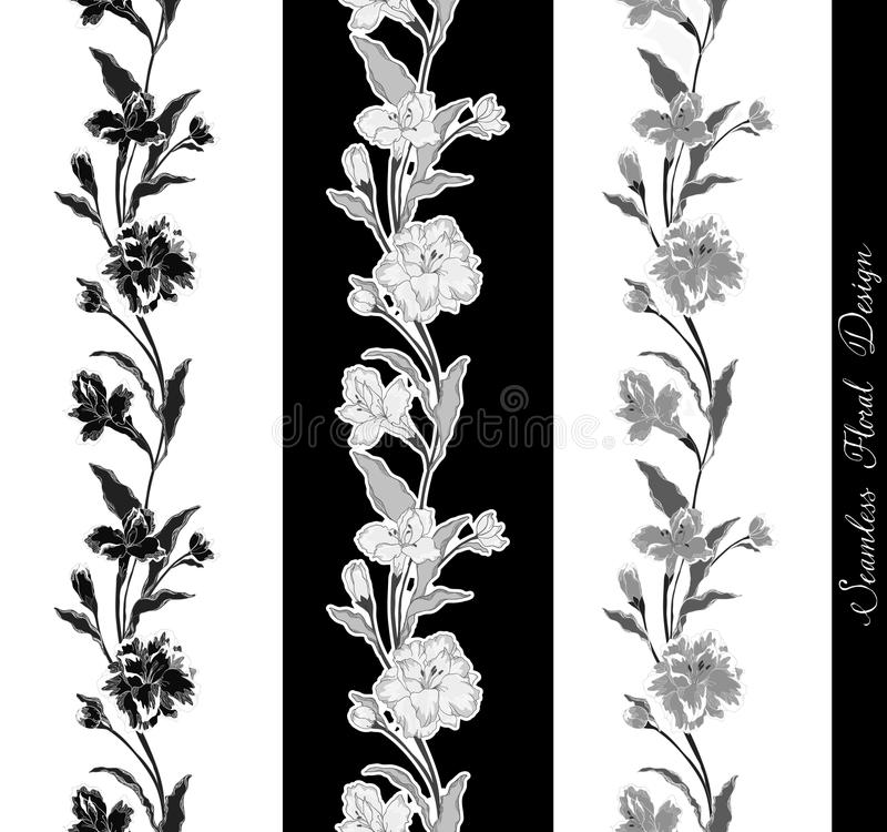 Download Stylish Vintage Floral Seamless Border Stock Vector