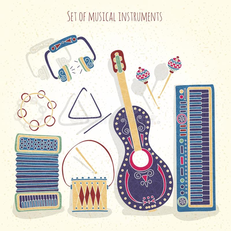 Stylish vintage set of musical instruments on a textural background. Drums, treugodbnik, guitar, violin, headphones, accordion. vector illustration