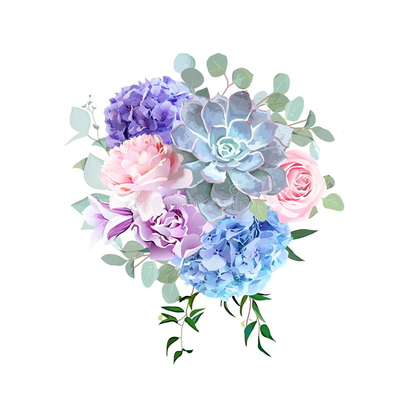 Stylish violet colored and pink flowers vector design bouquet. Rose, purple carnation, bell flower, succulent, blue hydrangea, eucalyptus. Floral bunch. Spring stock illustration