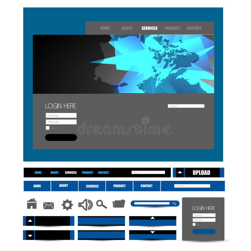 Stylish website template - portfolio layout with interface elements royalty free illustration
