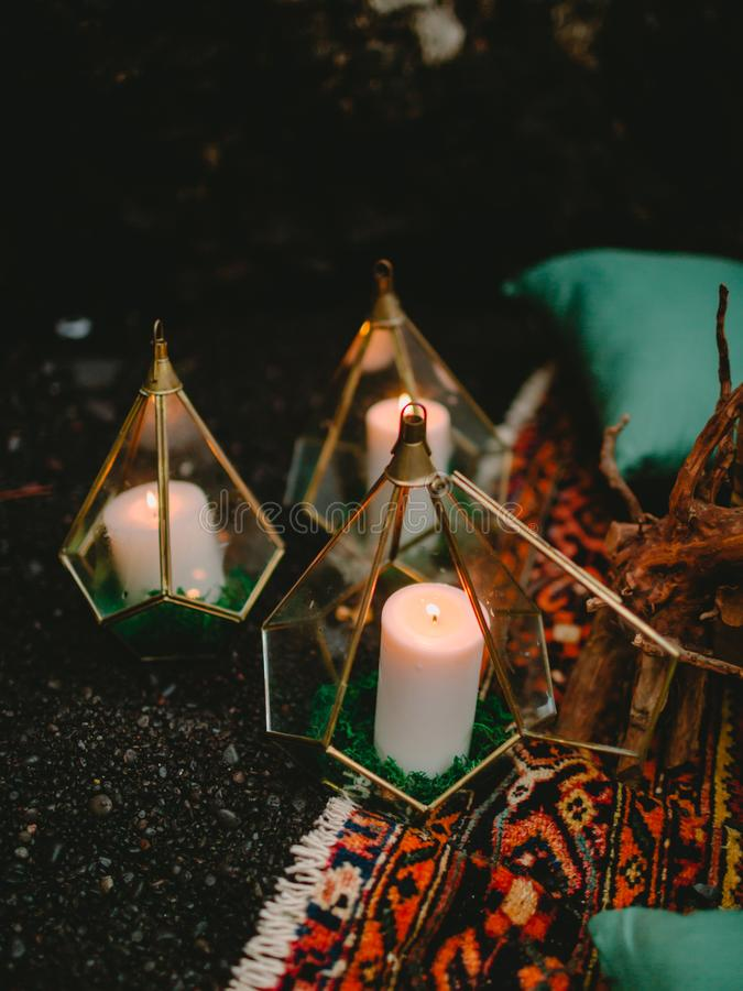 Stylish wedding decoration with candles, decor and floristic. Wedding. Dinner stock photography