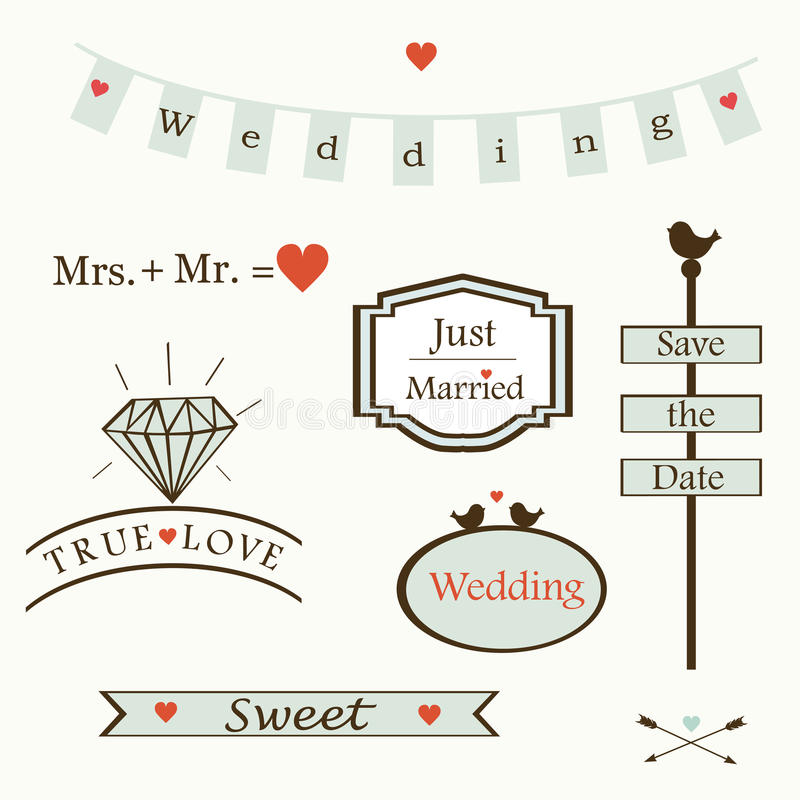 Download Stylish Wedding Elements And Logos And Labelsand  Symbols, Vector Stock Vector - Image: 41069746