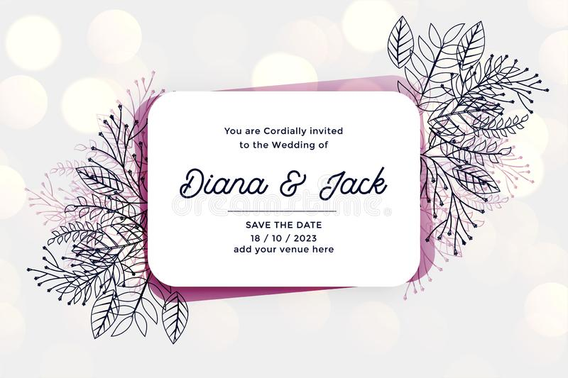 Stylish wedding invitation card design with line leaves and florals vector illustration