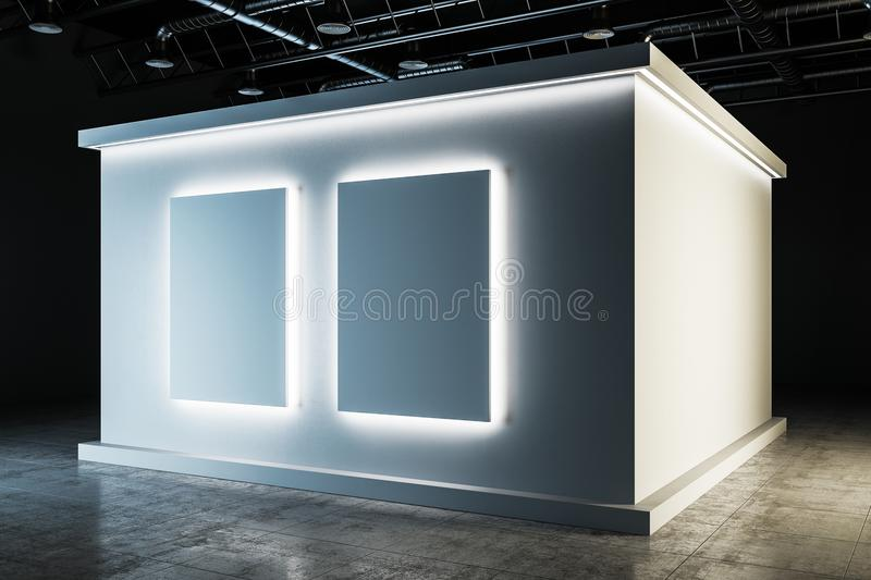Stylish white exhibition hall interior. With copy space. Museum, art and gallery concept. Mock up, 3D Rendering vector illustration
