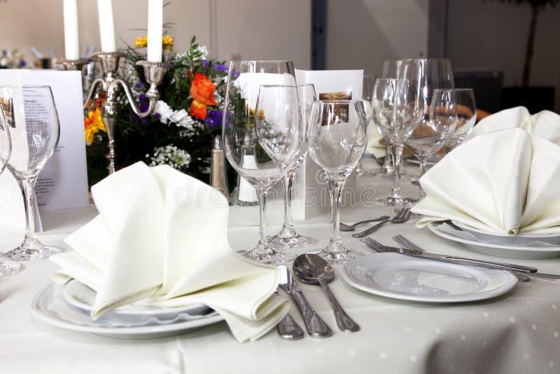 Stylish White Table Setting Royalty Free Stock Image