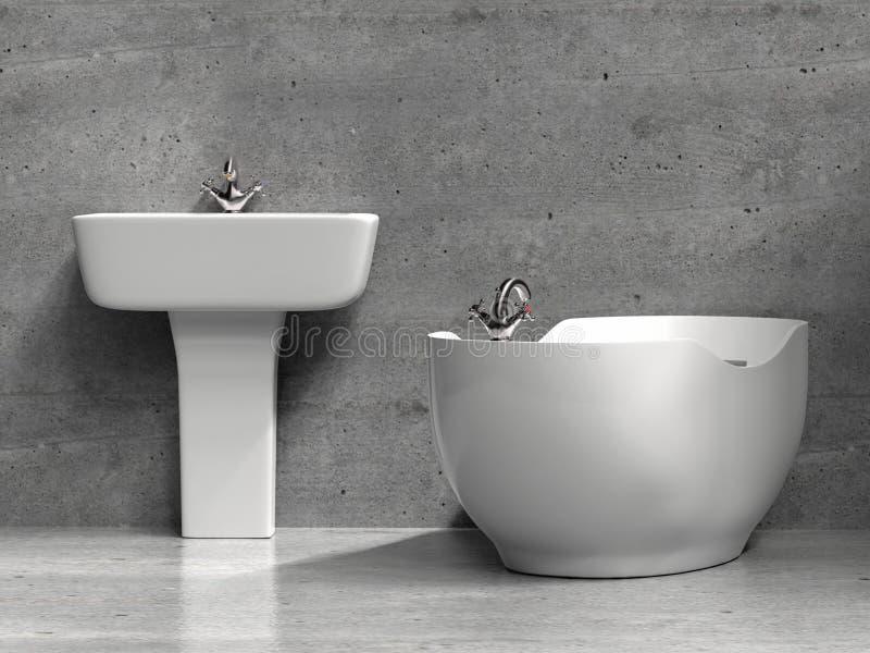 Stylish white washbasin and bath tub stock illustration