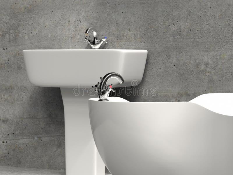 Stylish white washbasin and bath tub royalty free illustration
