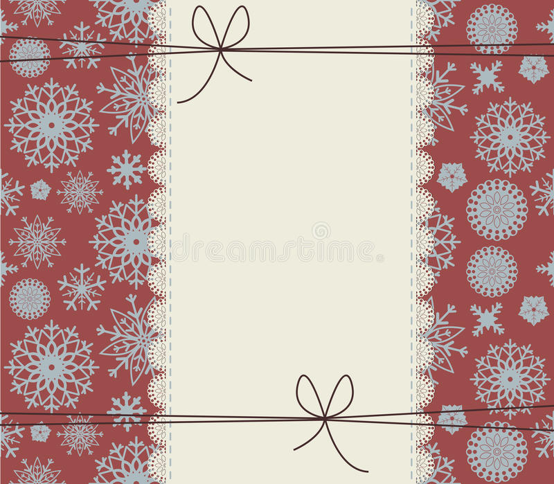 Stylish winter cover with snowflakes. Cute lace frame on red background. Happy New Year Greeting card with lace border. Retro Christmas frame with cute bows royalty free illustration