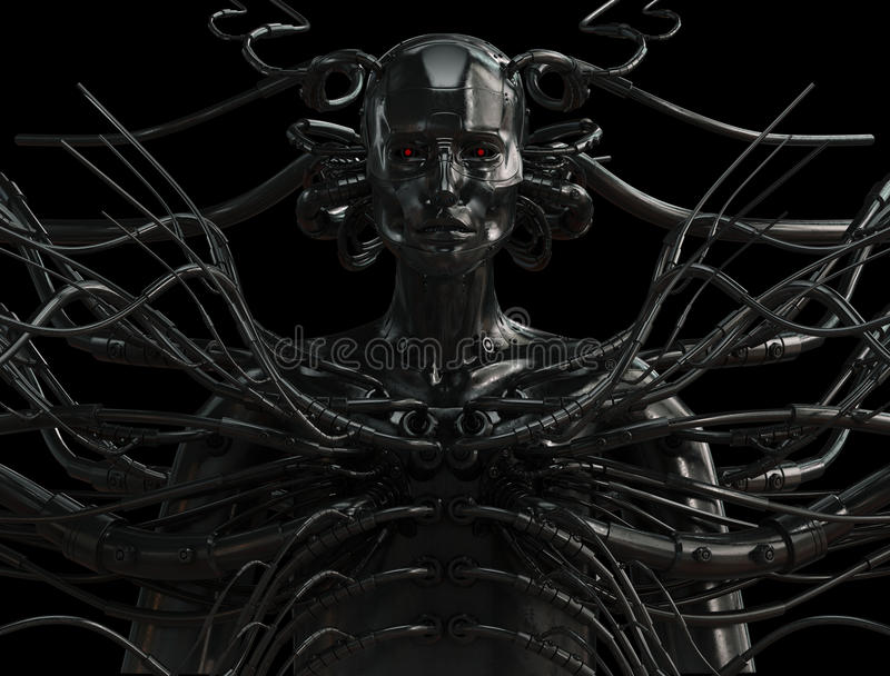 Stylish wired cyber man. Unique steel cyborg with metal cables isolated on black