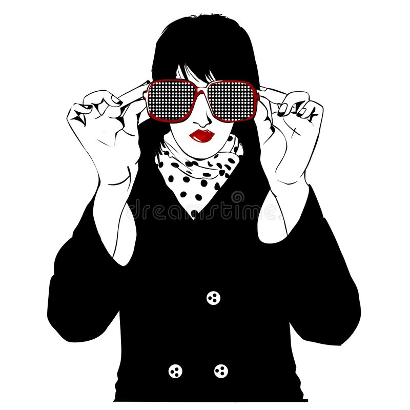 Stylish woman with big sunglasses royalty free illustration