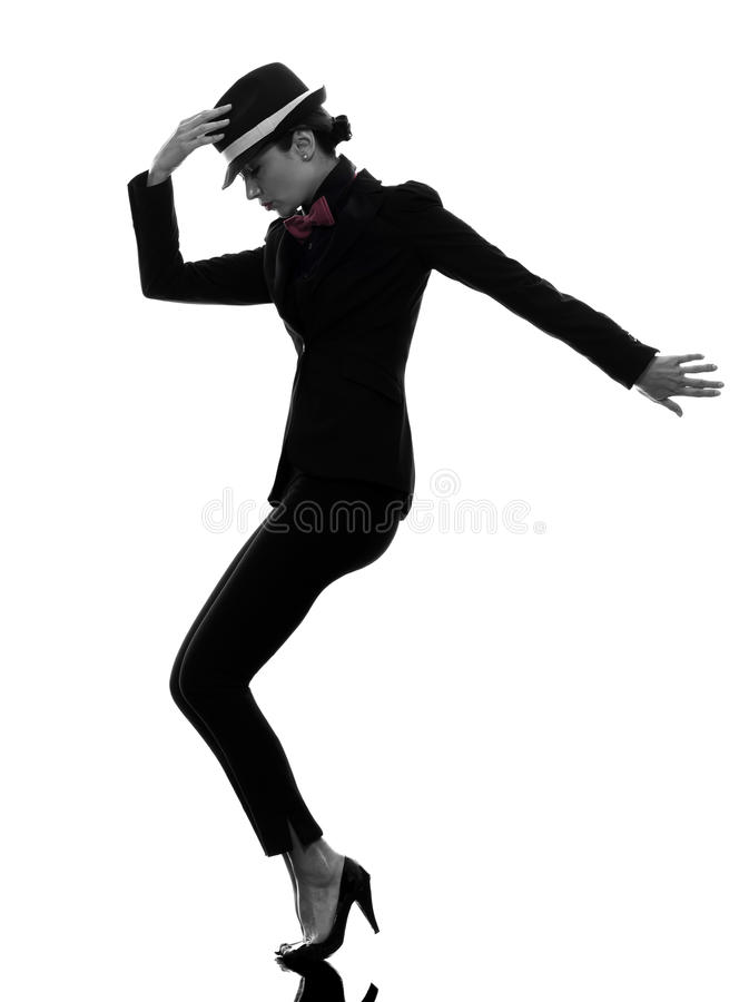 Stylish woman dancer dancing silhouette royalty free stock photos